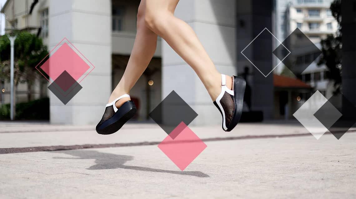 נעלי פלטפורמה שחורות לבנות